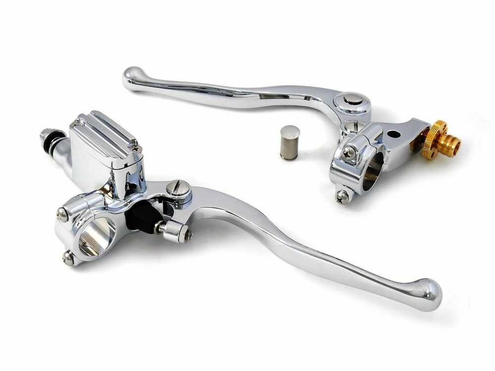 Chrome handlebar controls master cylinder clutch lever kit for Motor cycle handle bars