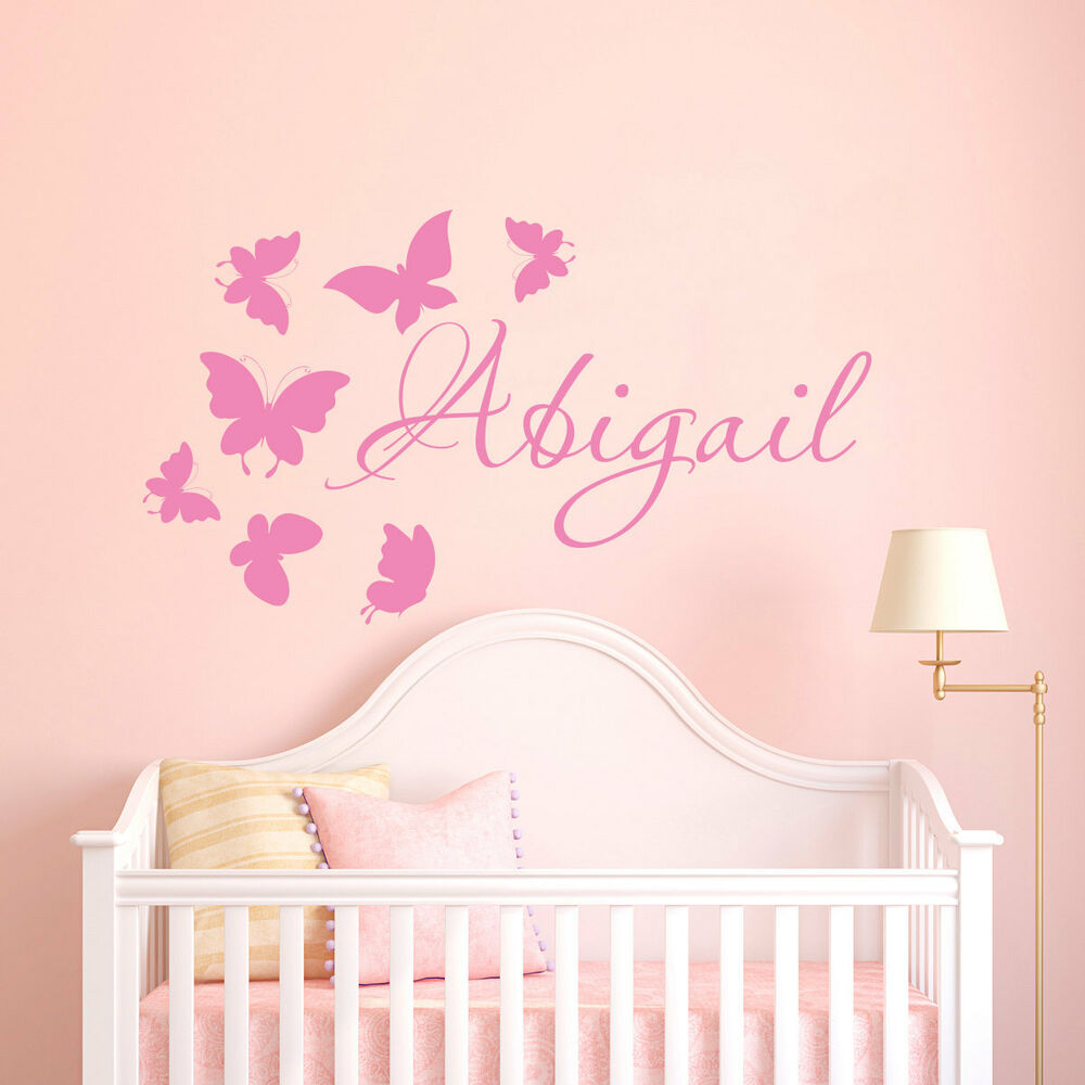Wall Stickers custom colour baby name butterfly vinyl ...
