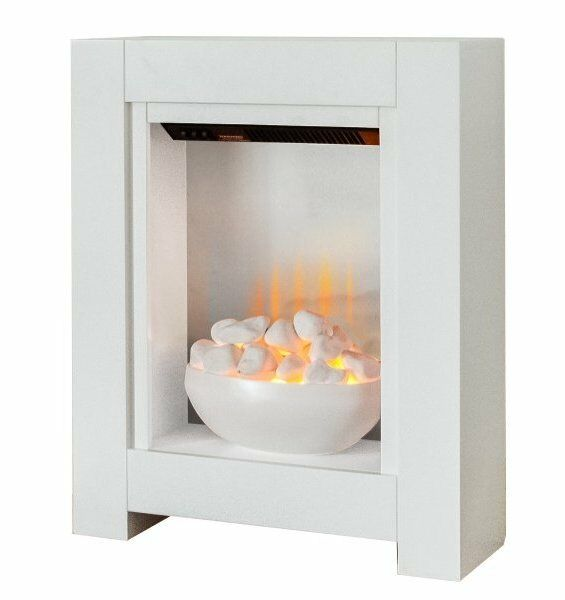 SMALL ELECTRIC FIRE WHITE BOWL FIREPLACE PEBBLES MODERN