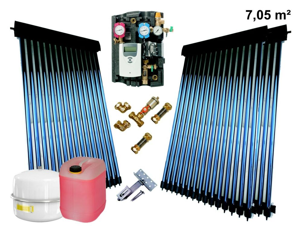 solaranlage komplettpaket vakuum r hrenkollektor heatpipe power kollektor ebay. Black Bedroom Furniture Sets. Home Design Ideas