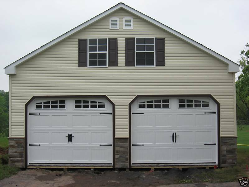 Amish 24x24 double wide 2 story vinyl garage shed new ebay for Two story garage kits