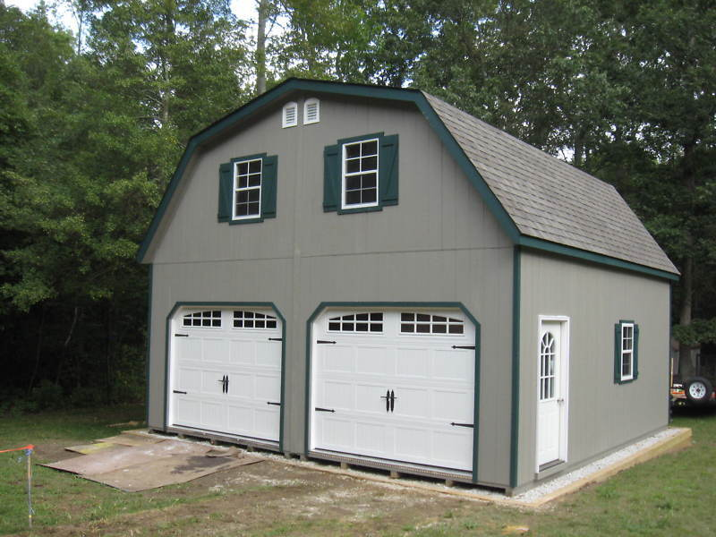 Amish 20x20 double wide garage gambrel roof structure ebay for 20x20 garage kit
