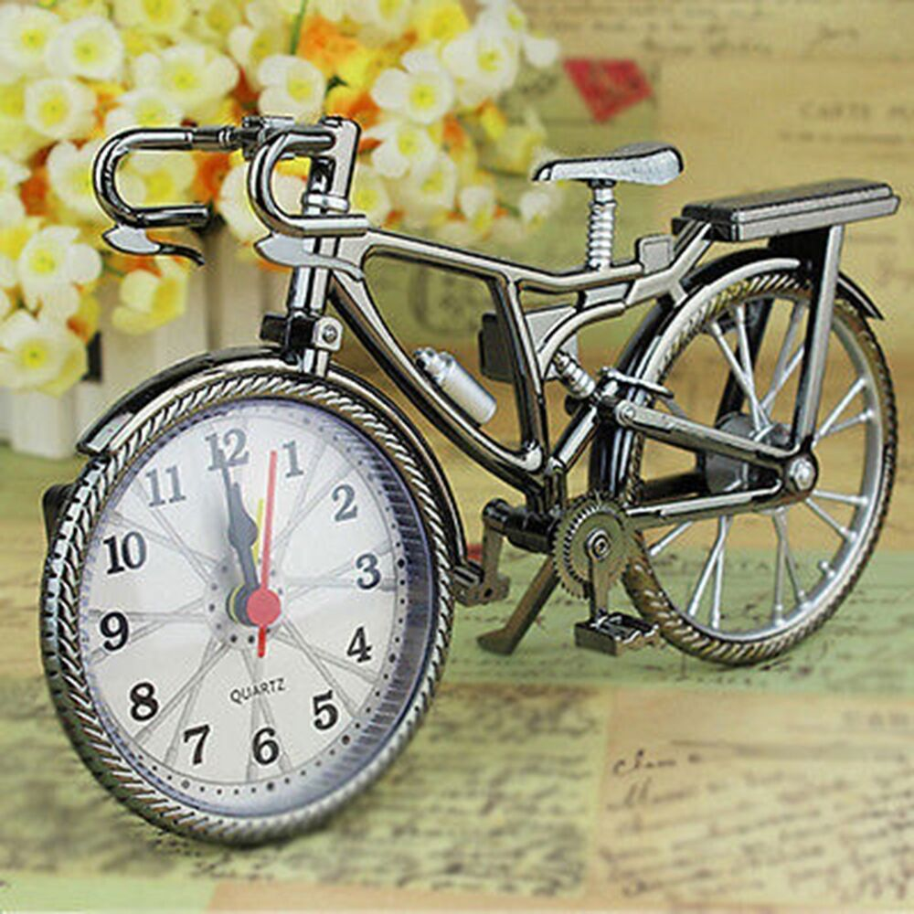retro fahrrad funkwecker wecker digital uhr alarmwecker tischuhr bicycle ebay. Black Bedroom Furniture Sets. Home Design Ideas
