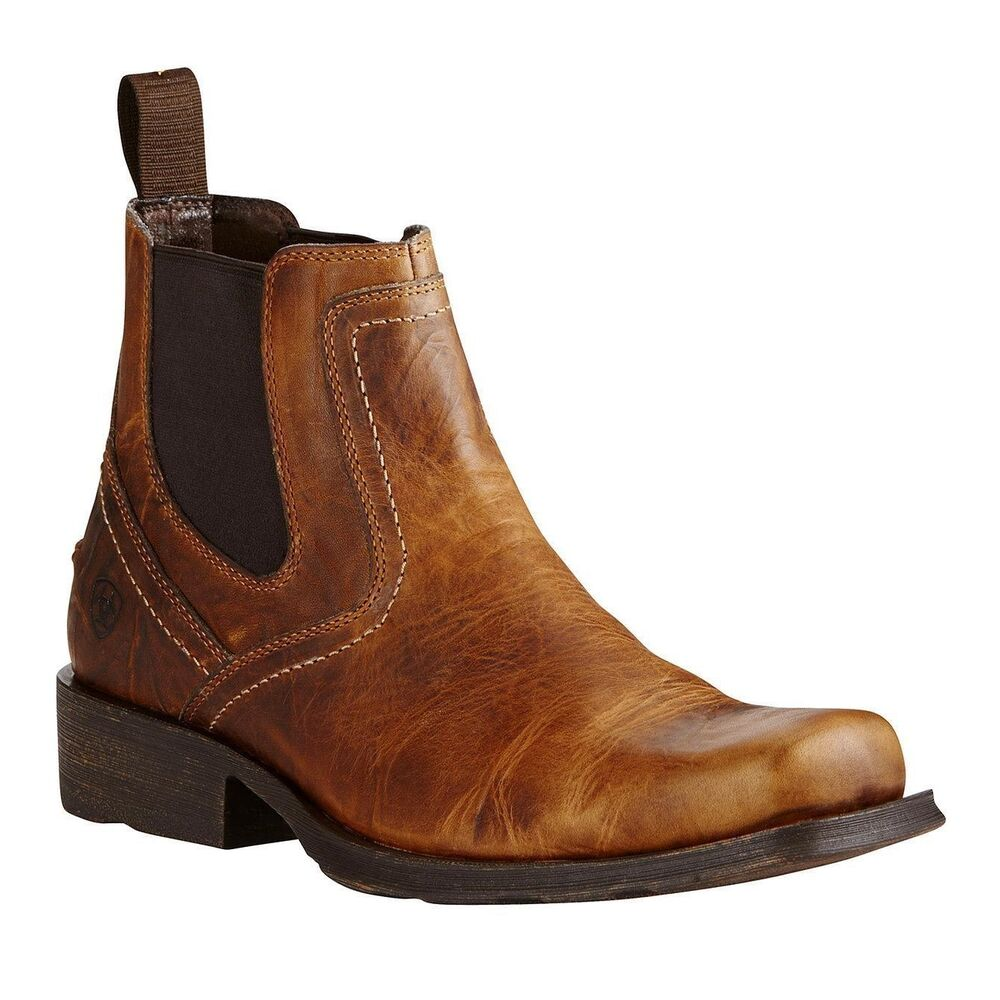 f068100c88b5 Details about Ariat® Men s Midtown Rambler Barn Square Toe Chelsea Boots  10019868