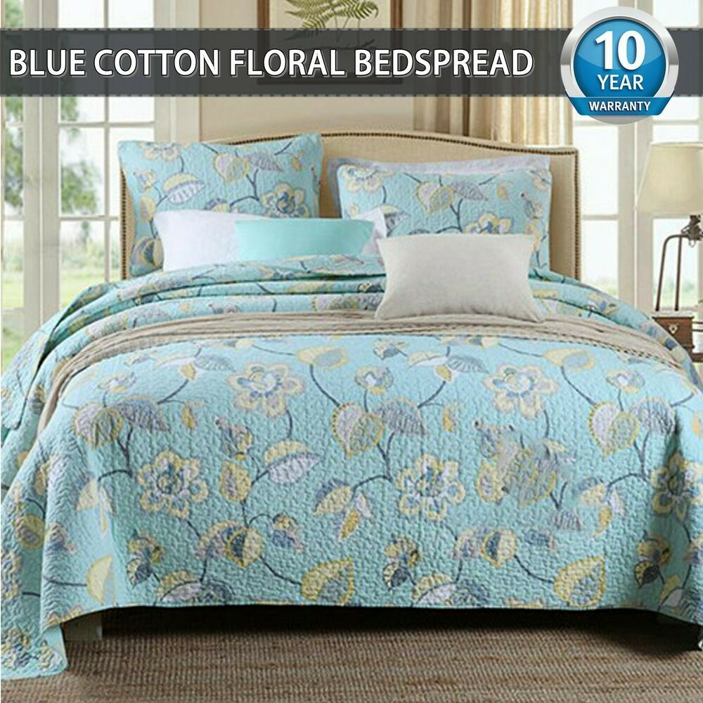 Cotton Floral Patchwork Quilt Coverlet Bedspread Throw Rug