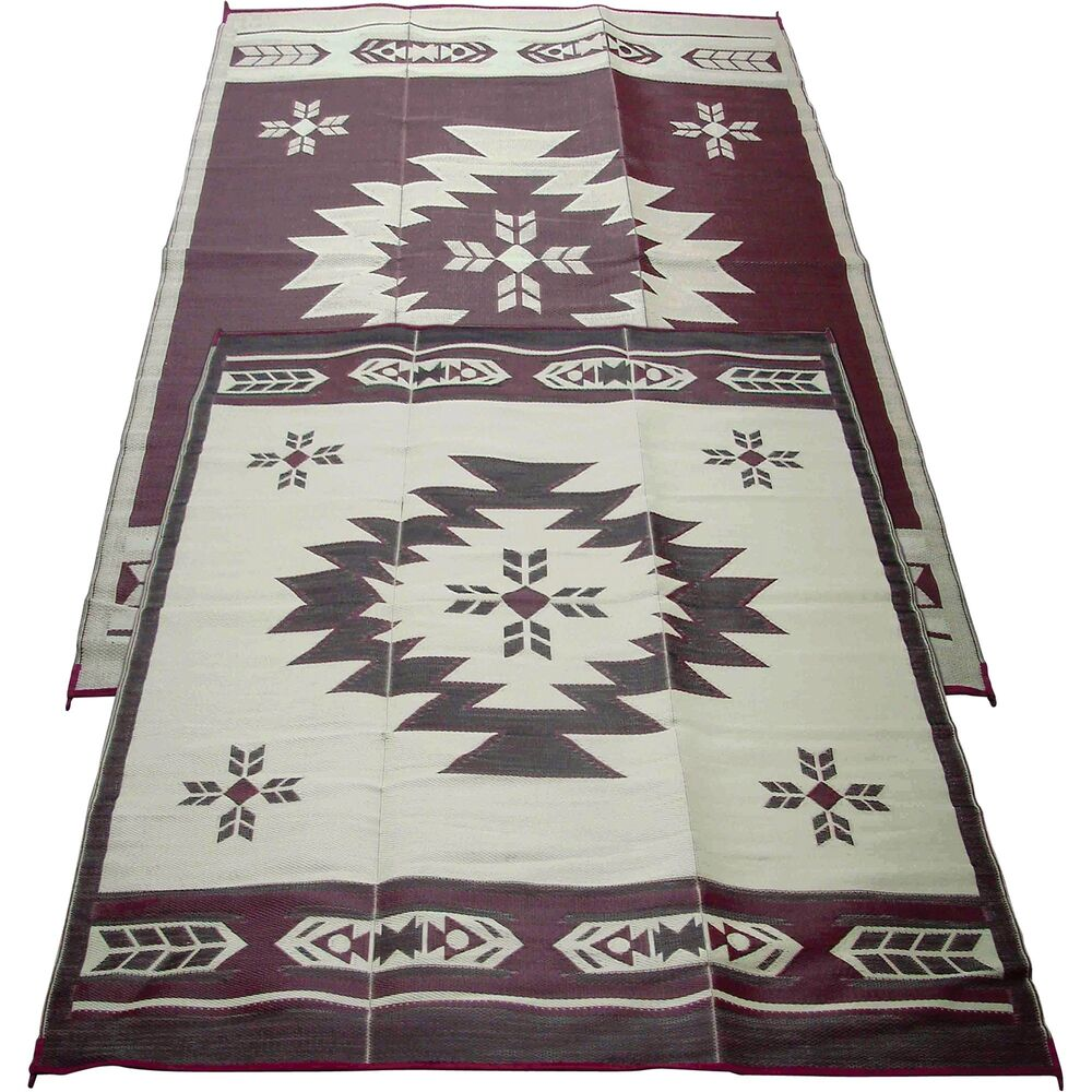 Outdoor Reversible Patio Rv Mat 6ft X 9ft Navajo