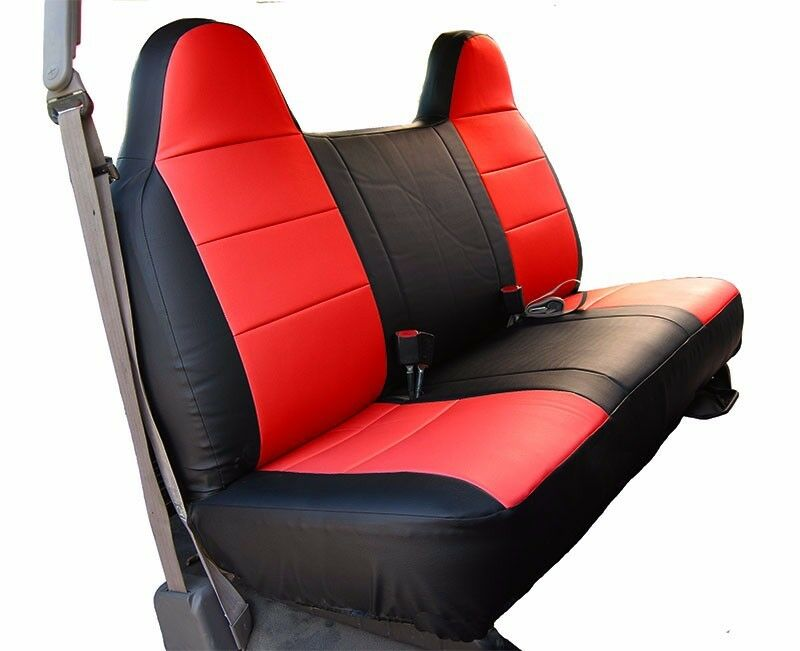 Ford Truck Bench Seat Cover ~ Ford f black red iggee s leather custom fit bench