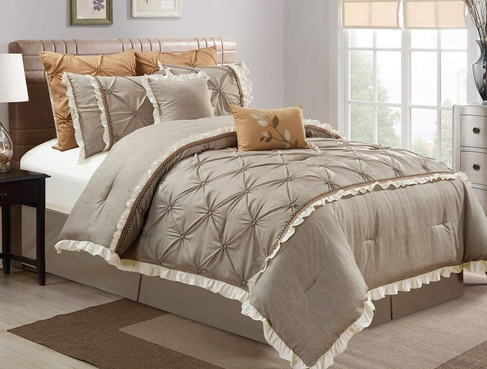 bedroom comforters sets 8 pc vera floral pintuck pleats faux linen medium taupe 10364