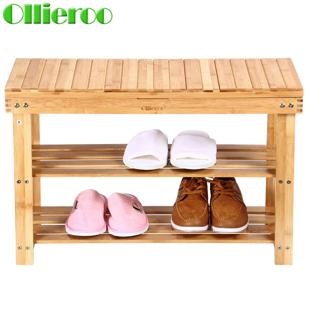 Storage Bench Shoe Rack Entryway Organizer Container Store: Ollieroo Bamboo Shoe Bench Seat Storage Rack Shelf