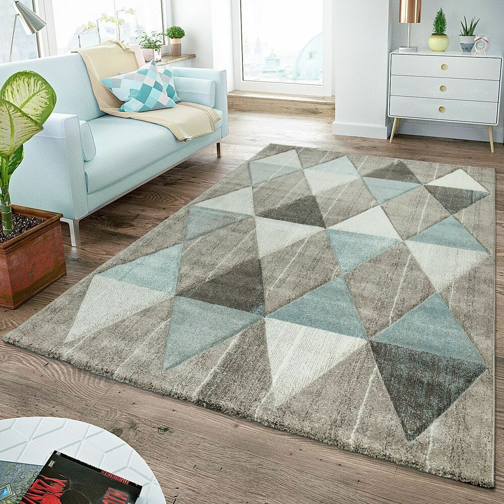 moderner teppich wohnzimmer skandinavisch rautenmuster pastell beige blau ebay. Black Bedroom Furniture Sets. Home Design Ideas