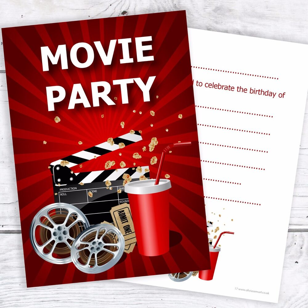 Details About Movie Party Birthday Invitations