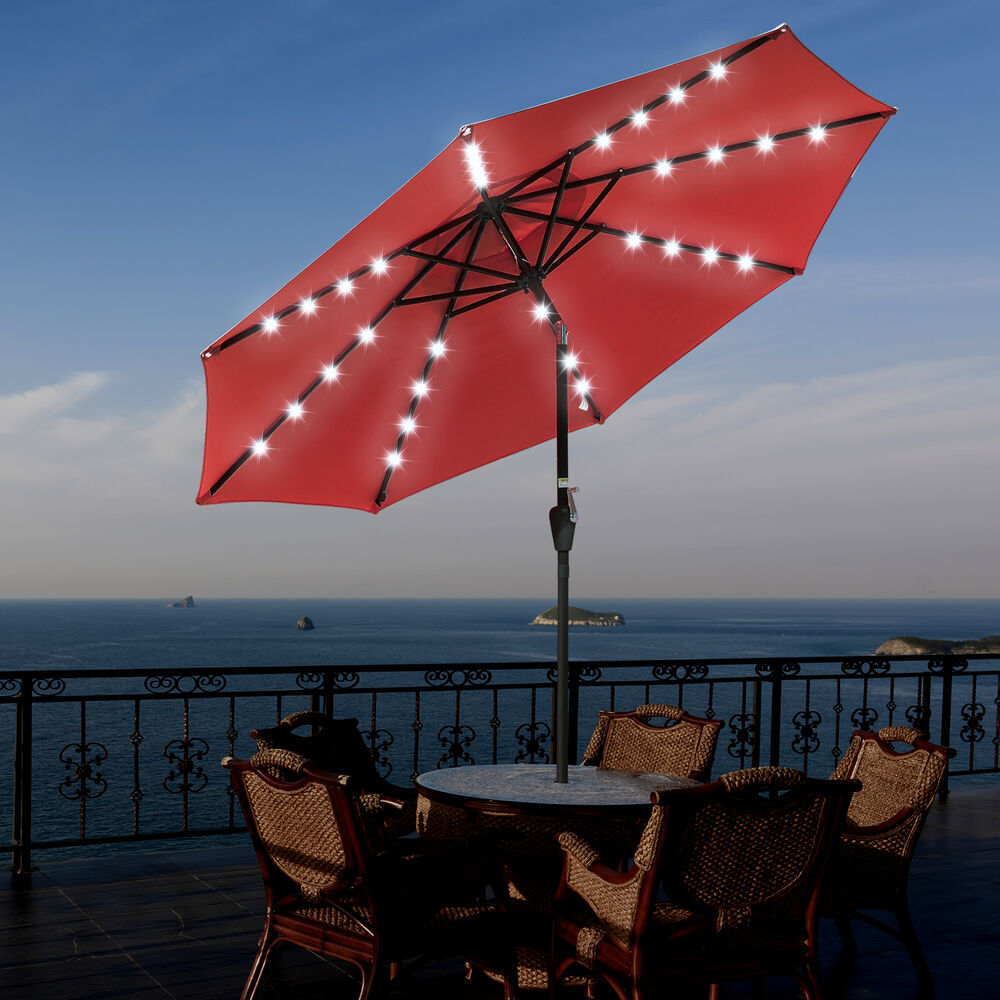 9' Outdoor Patio LED Solar Powered Aluminium Umbrella
