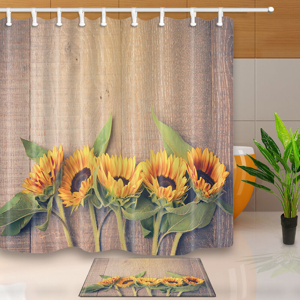 the sunflower theme waterproof fabric home decor shower. Black Bedroom Furniture Sets. Home Design Ideas