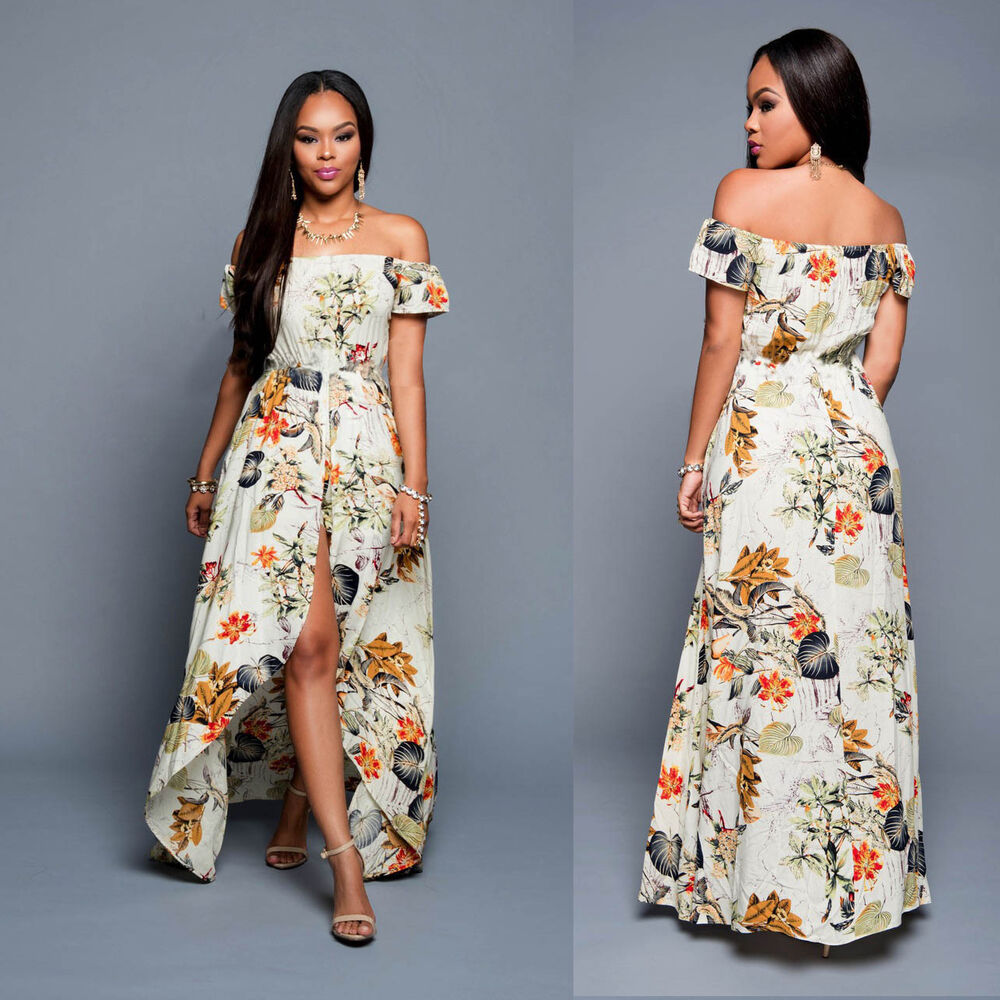 women floral summer beach boho party evening maxi long dress romper sundress ebay. Black Bedroom Furniture Sets. Home Design Ideas