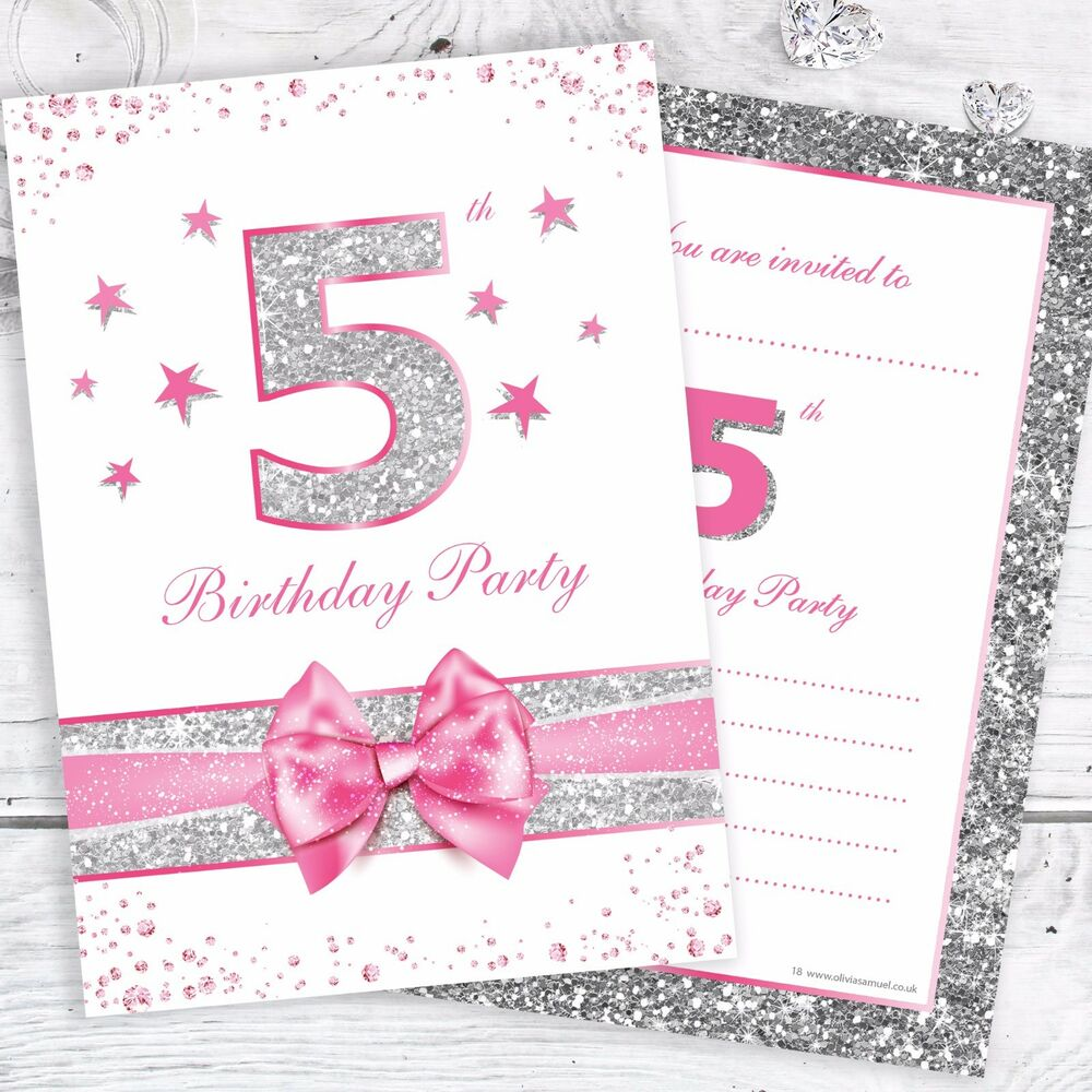 Details About 5th Birthday Party Invites