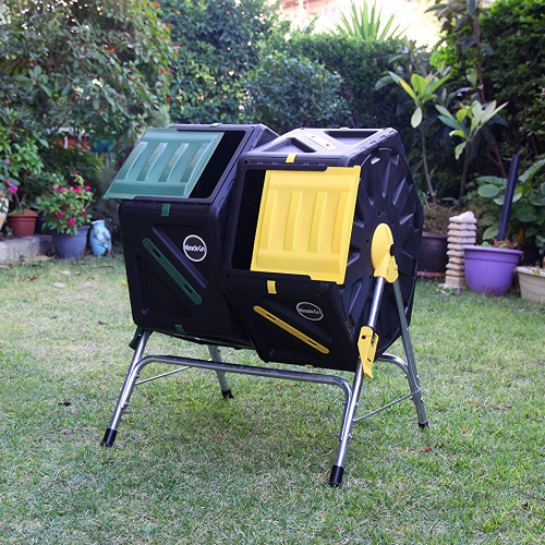 Large Compost Tumbler Dual Chamber Tumbling Composter Bin