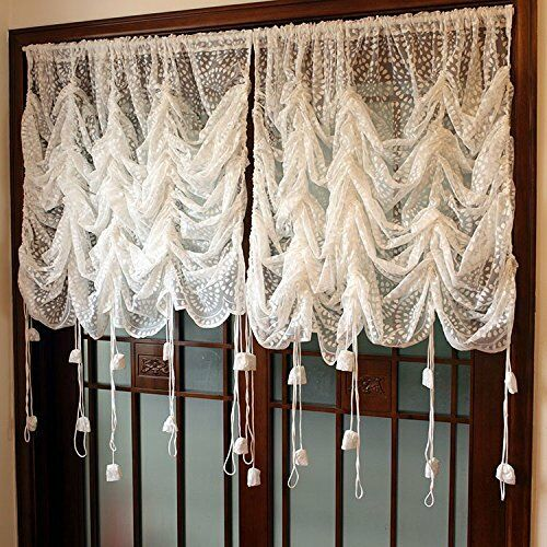 Rustic Lace Curtains Adjustable Balloon Sheer Curtains Sunflower Voile Curtain Ebay