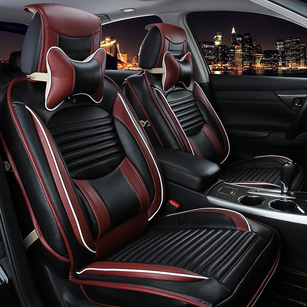 pu leather car seat cover cushion front rear set fit for crv civic all 5 seats ebay. Black Bedroom Furniture Sets. Home Design Ideas
