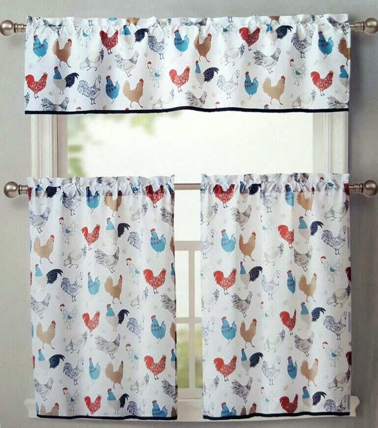 ROOSTER KITCHEN WINDOW CURTAINS 3 SET FLORAL TIERS VALANCE