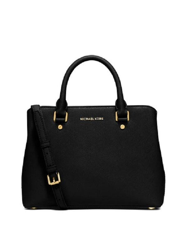 83640d03f11b Details about New Michael Kors Savannah Medium Saffiano Leather Satchel  BLACK tote bag Gold