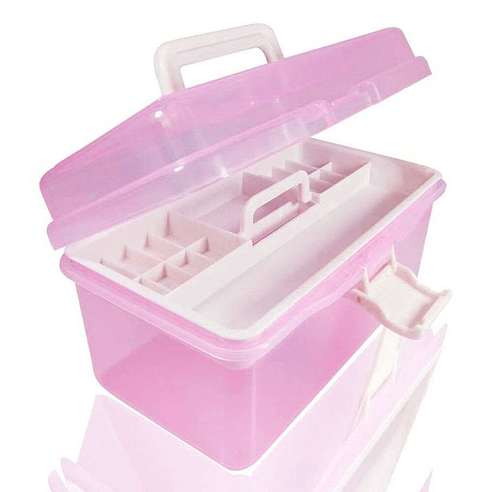 new two layer pink plastic storage boxes home office organiser manicure kit box ebay. Black Bedroom Furniture Sets. Home Design Ideas