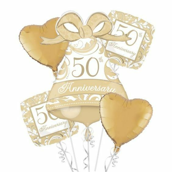 50th foil balloon bouquet golden anniversary party decoration 50 years balloons ebay. Black Bedroom Furniture Sets. Home Design Ideas