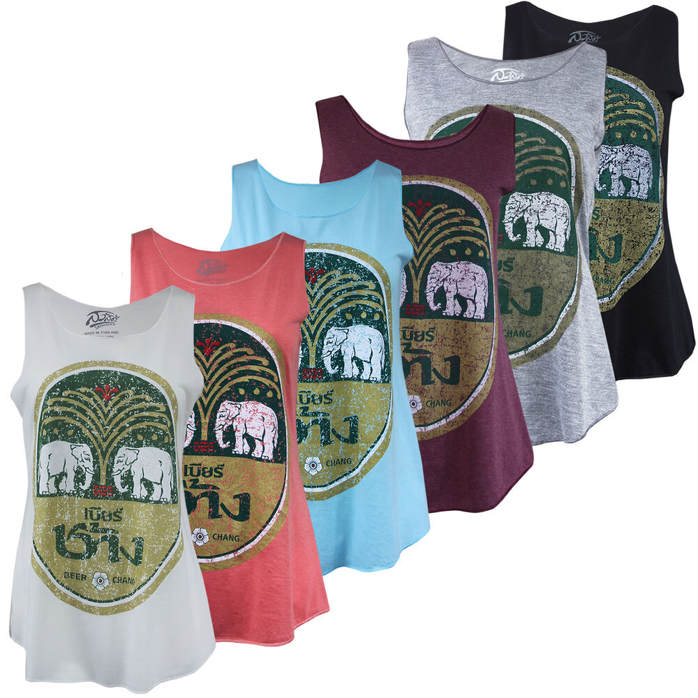 f46241d64 Details about Rare Thai Chang Beer Summer Vest Ladies Tank TShirt Gym Party  Yoga Beach Top UK