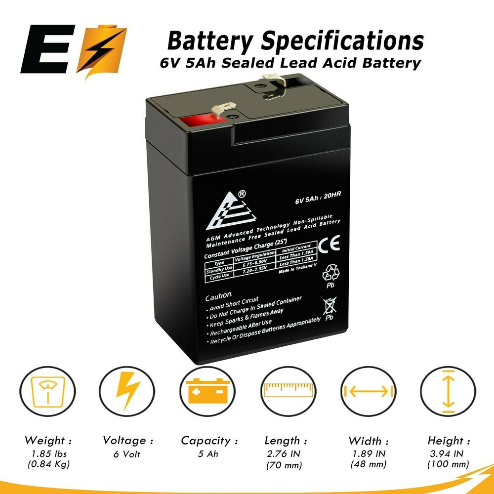 expertbattery 6v 5ah 6 volt 5 amp hr rechargeable sealed. Black Bedroom Furniture Sets. Home Design Ideas