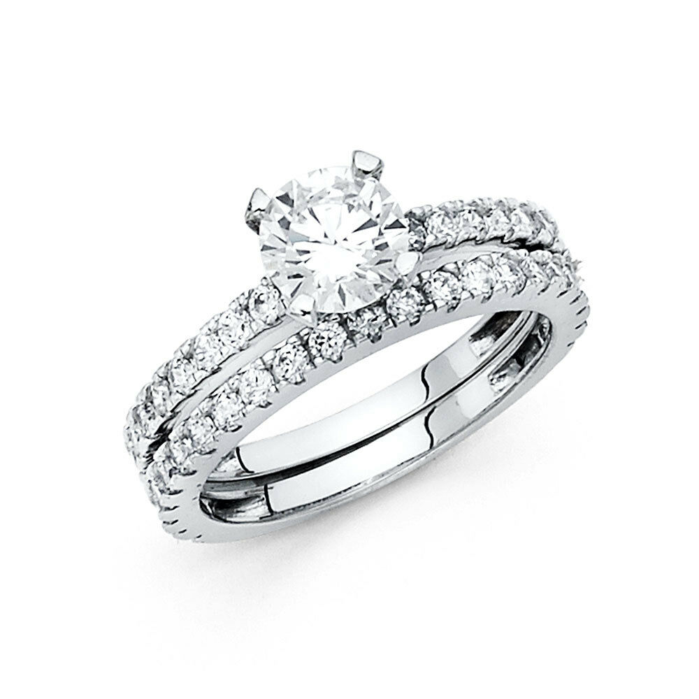 White Gold Wedding Sets: 14k White Gold 1.5 CT Round Engagement Bridal Ring Set 2