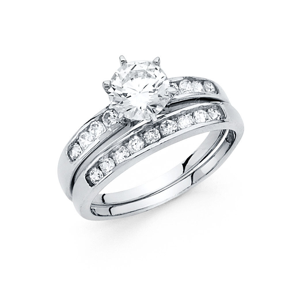 White Gold Wedding Ring Sets: 14K Solid White Gold 1.5 Ct Bridal Engagement 2 Piece Ring
