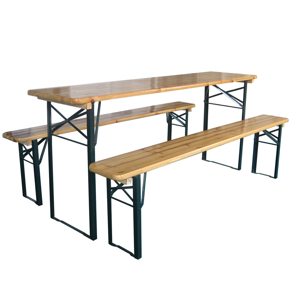 Outdoor Wooden Folding Beer Table Bench Garden Furniture