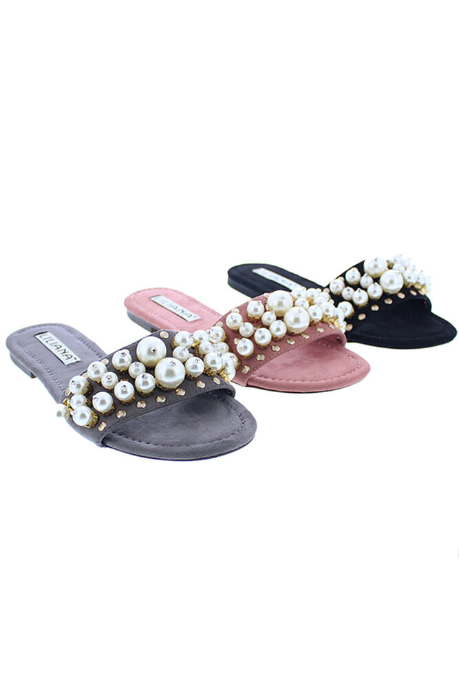 Womens Pearl Studs Suede Slide Sandals Slippers Shoes