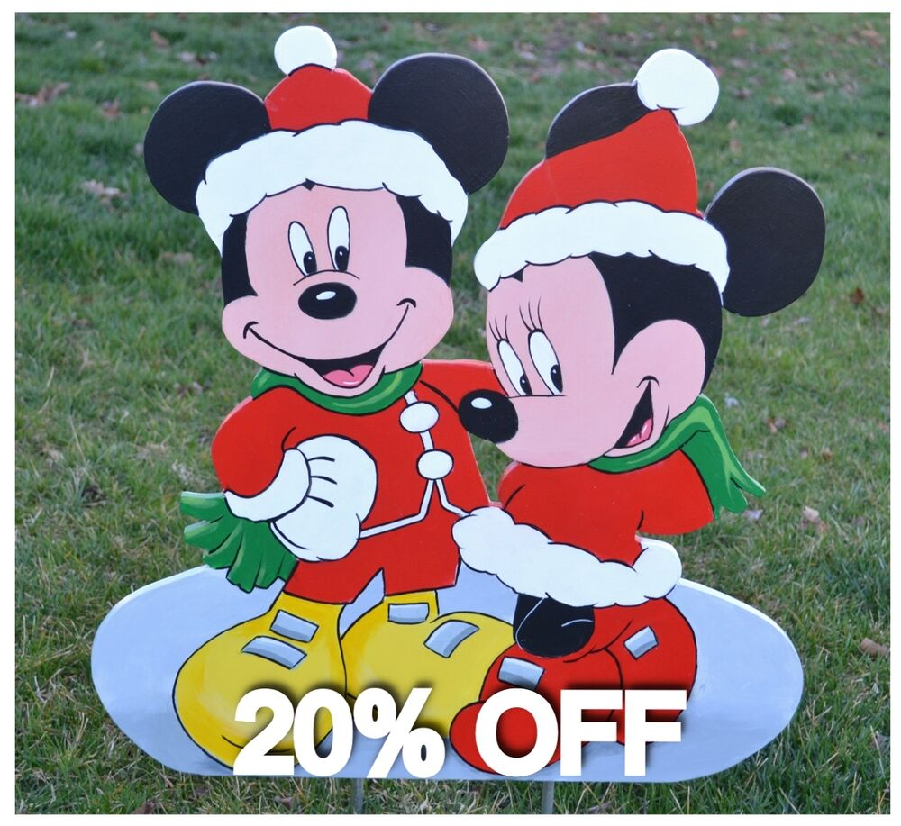 Mickey Mouse Minnie Mouse At Christmas Lawn Stake Yard