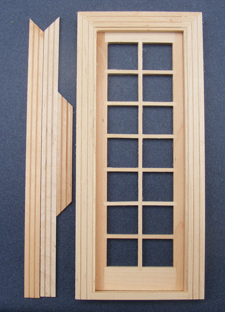 1 12 scale dolls house miniature single glazed wooden for French door frame