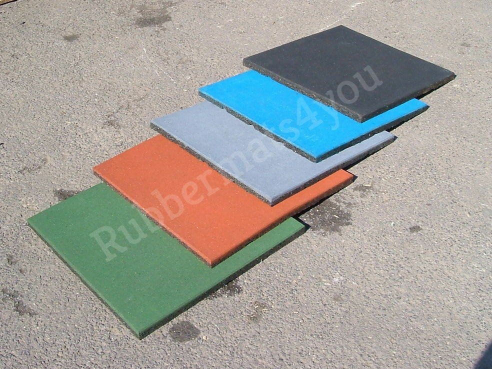 4 Rubber Safety Tiles Heavy Duty Playground Swing Slide