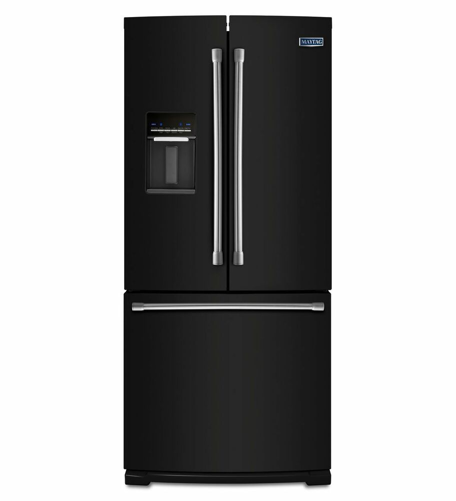 Maytag 19 6 cu ft black french door bottom freezer for 6 ft wide french doors