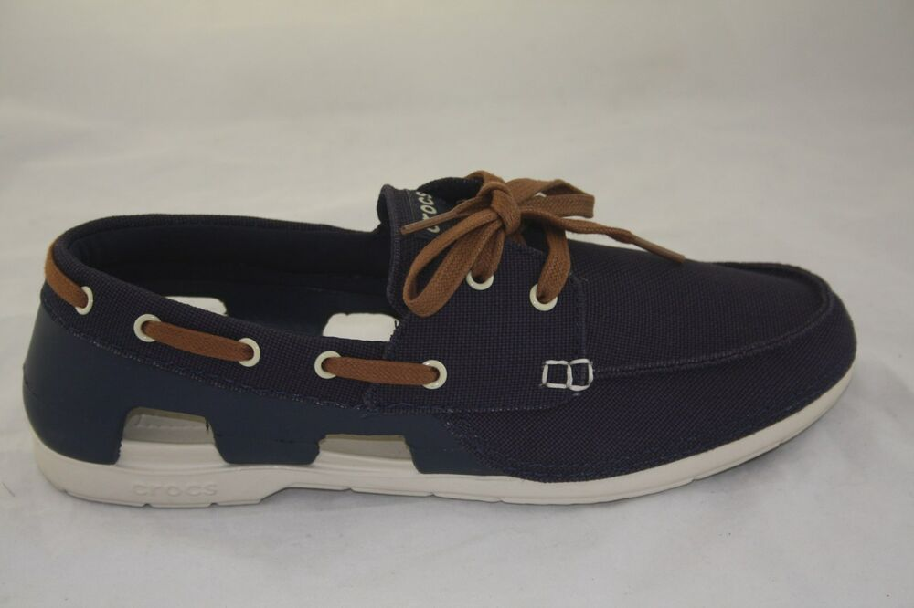 e36d4cd4f95675 MEN S CROCS BEACH LINE LACE-UP BOAT SHOE NAVY STUCCO STANDARD FIT  200247-46K