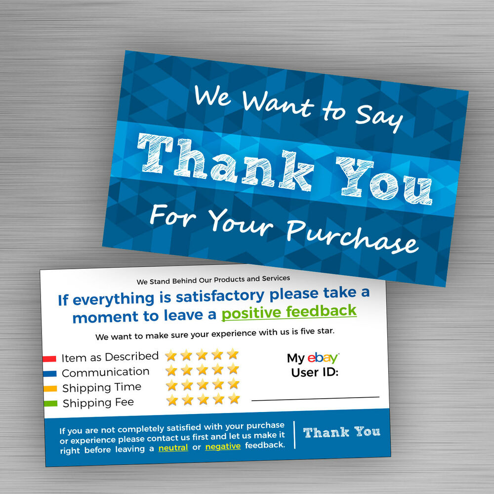 50 Blue ebay Seller THANK YOU Cards 5 Star Feedback Rating *Free ...