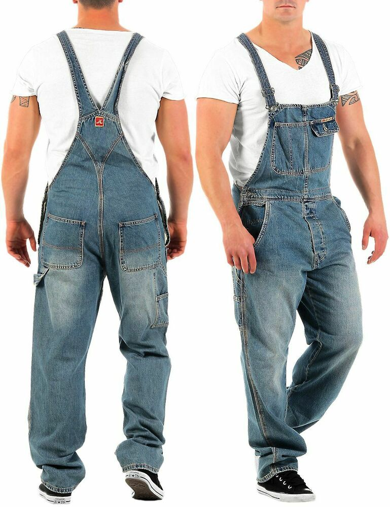 jet lag herren latz jeans overall denim long herrenhose. Black Bedroom Furniture Sets. Home Design Ideas