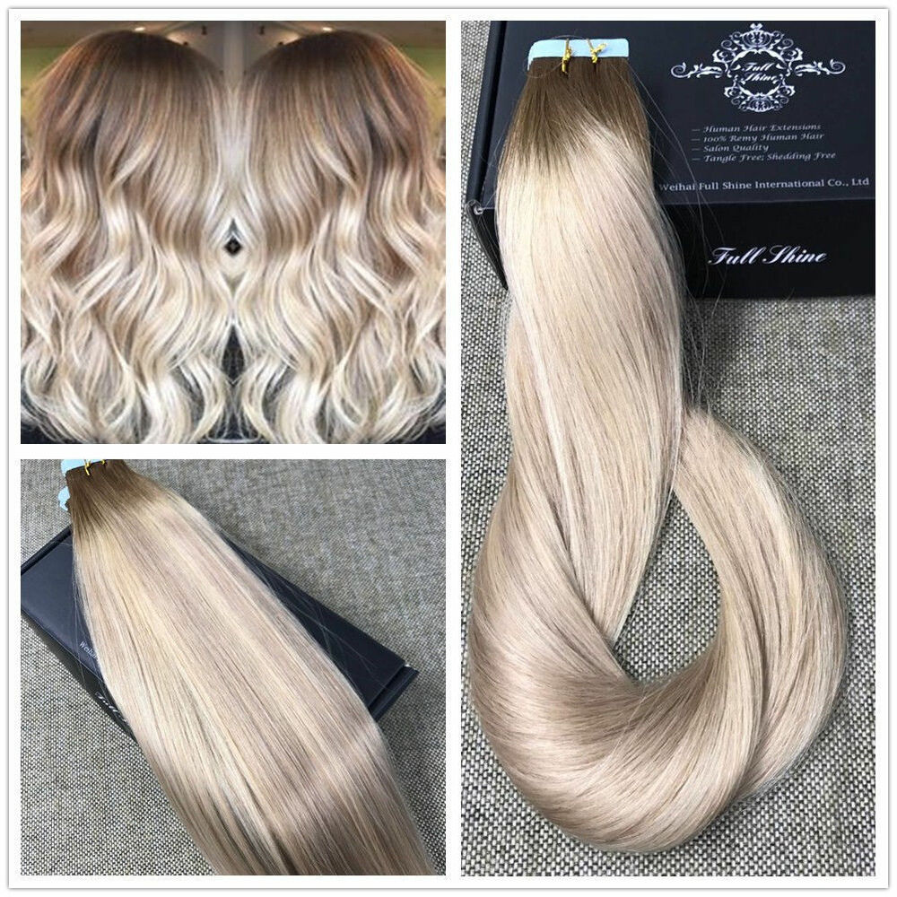 Ash Blonde Highlighted Tape Hair Extensions Human Hair Balayage Ship