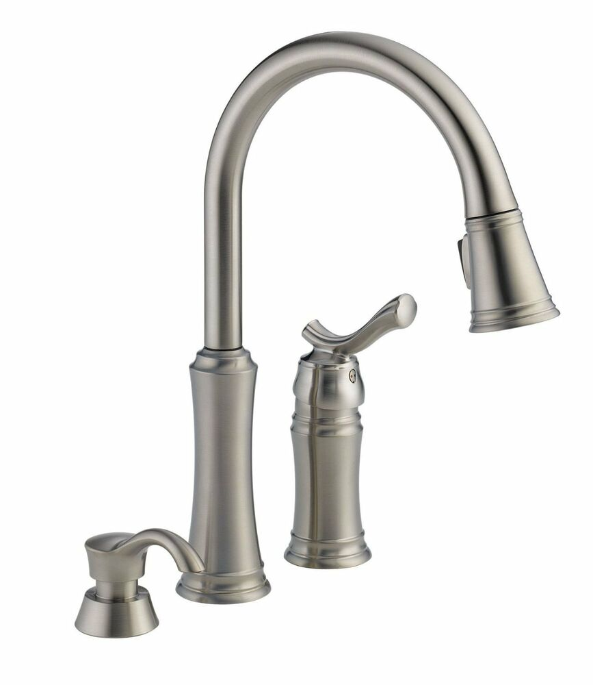 delta kitchen faucet stainless delta linden kitchen faucet Delta Lakeview SSSD DST Pull Down Sprayer Stainless Kitchen Faucet