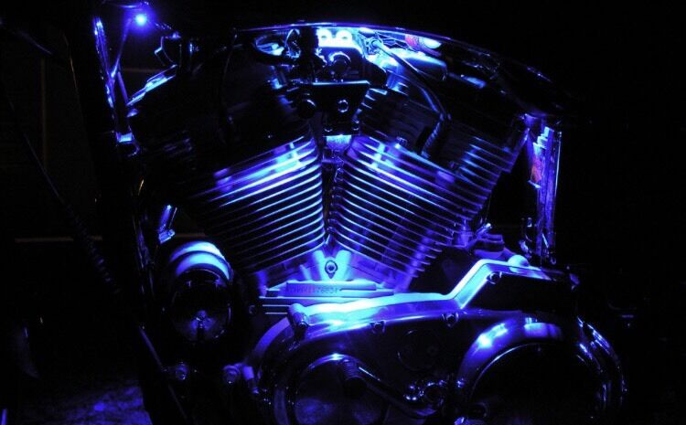 Led Motorcycle Engine Neon Accent Lighting Blue Waterproof