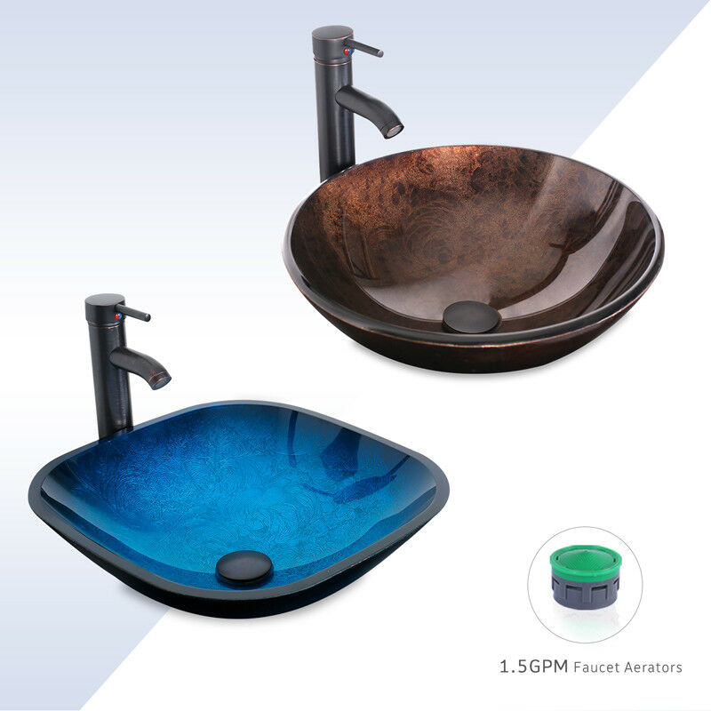 165 Bathroom Vessel Sink Oil Rubbed Bronze Faucet Combo W Drain