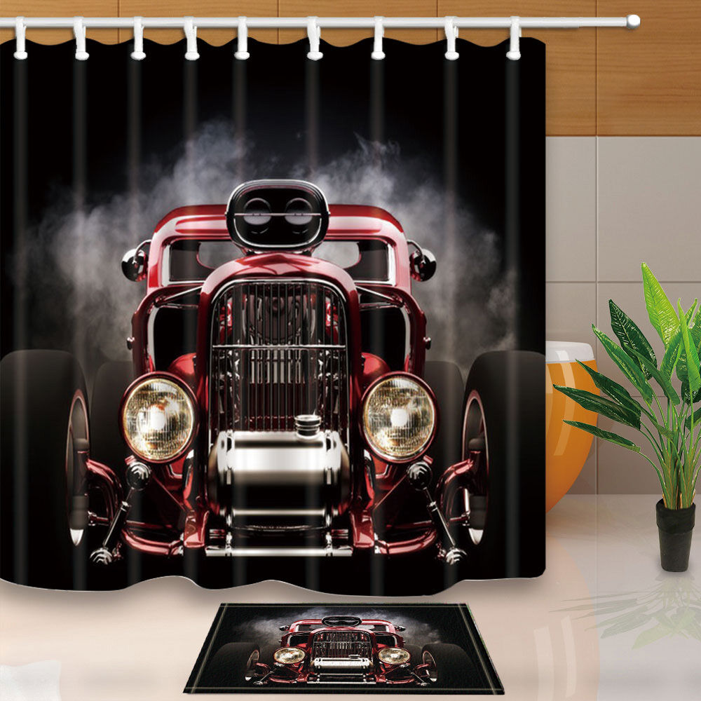 The Old Car Theme Waterproof Fabric Home Decor Shower ...