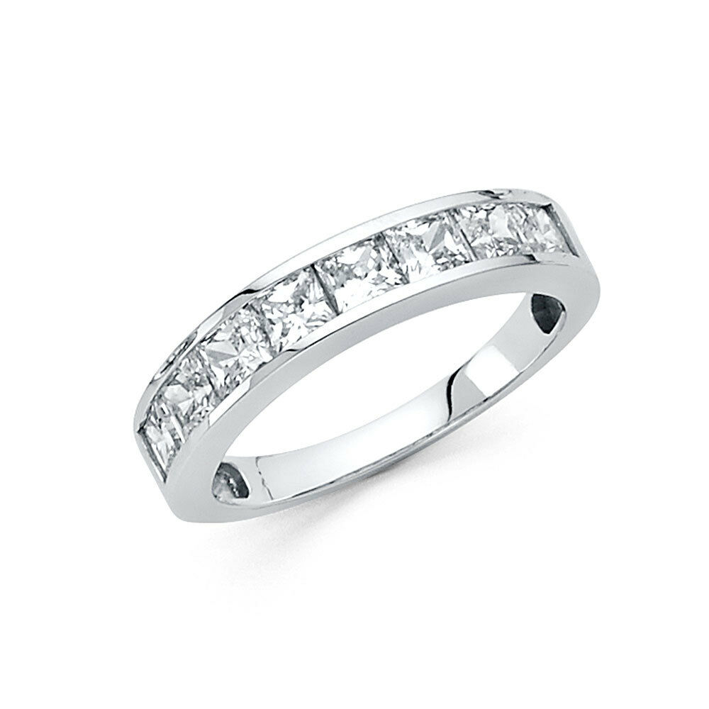 14k White Gold 1.50 Diamond Square Princess Cut Channel