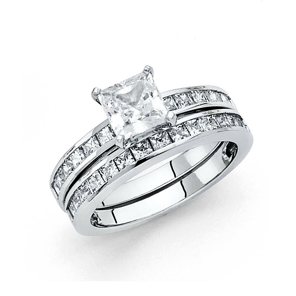 1.5 CT Diamond Square Princess Cut Engagement Ring Wedding