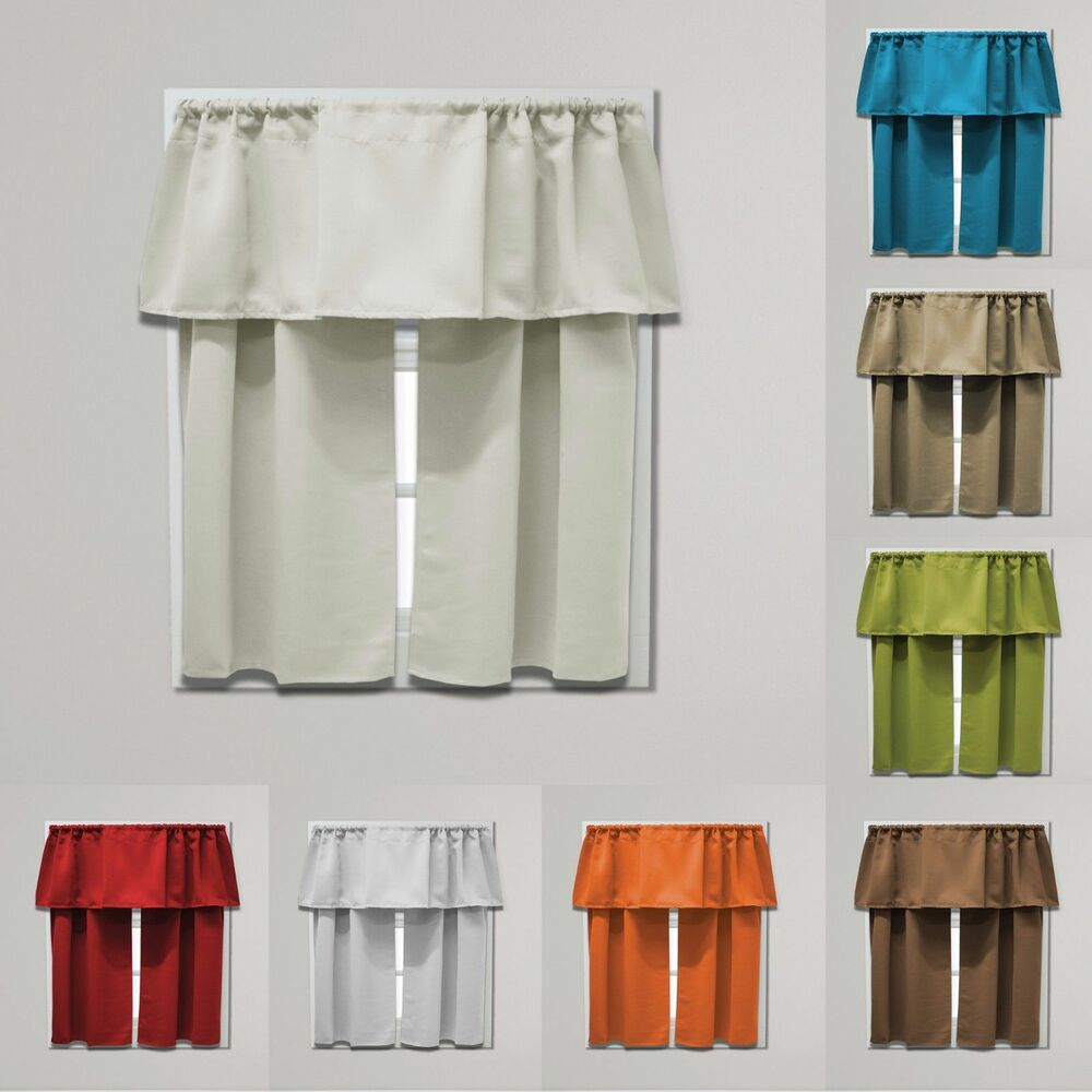 Beth Blackout Tier And Valance Curtain Set, 54 Inches Wide