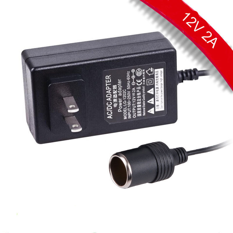 Details About Ac 100v 240v Wall Plug To Dc 12v 2a Car Charger Converter Adapter From Usa
