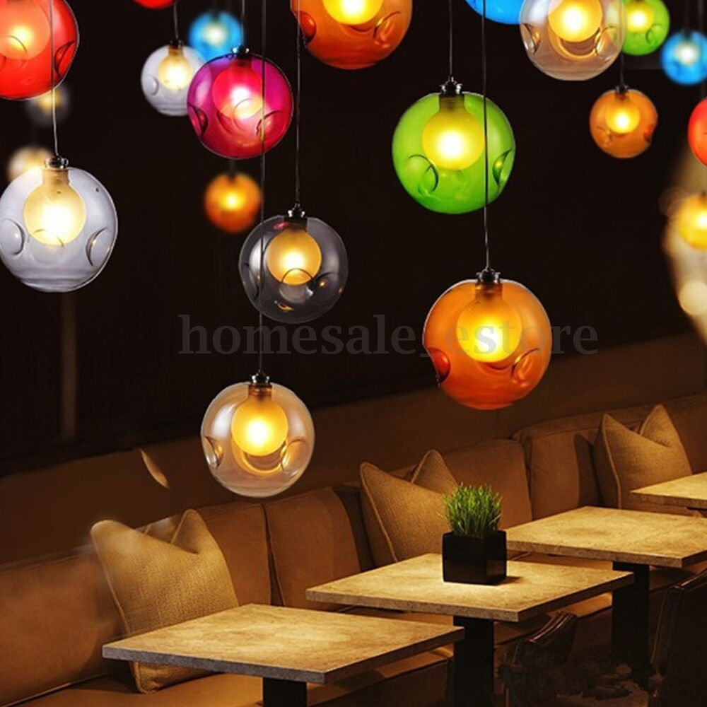 Modern Multi Color Glass Bubbles Pendant Light Chandelier