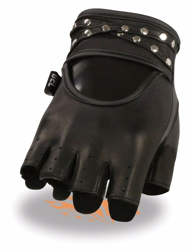 Womens Soft Leather Fingerless Motorcycle Gloves Biker ...